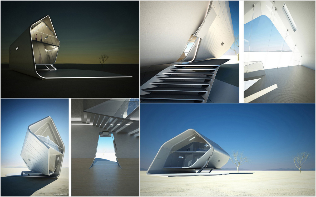 """A Korean designer and architect Christopher Daniel has conceived a futuristic home called """"California Roll House"""". The impressive high end design is a prefab home designed to be assembled and disassembled in a"""