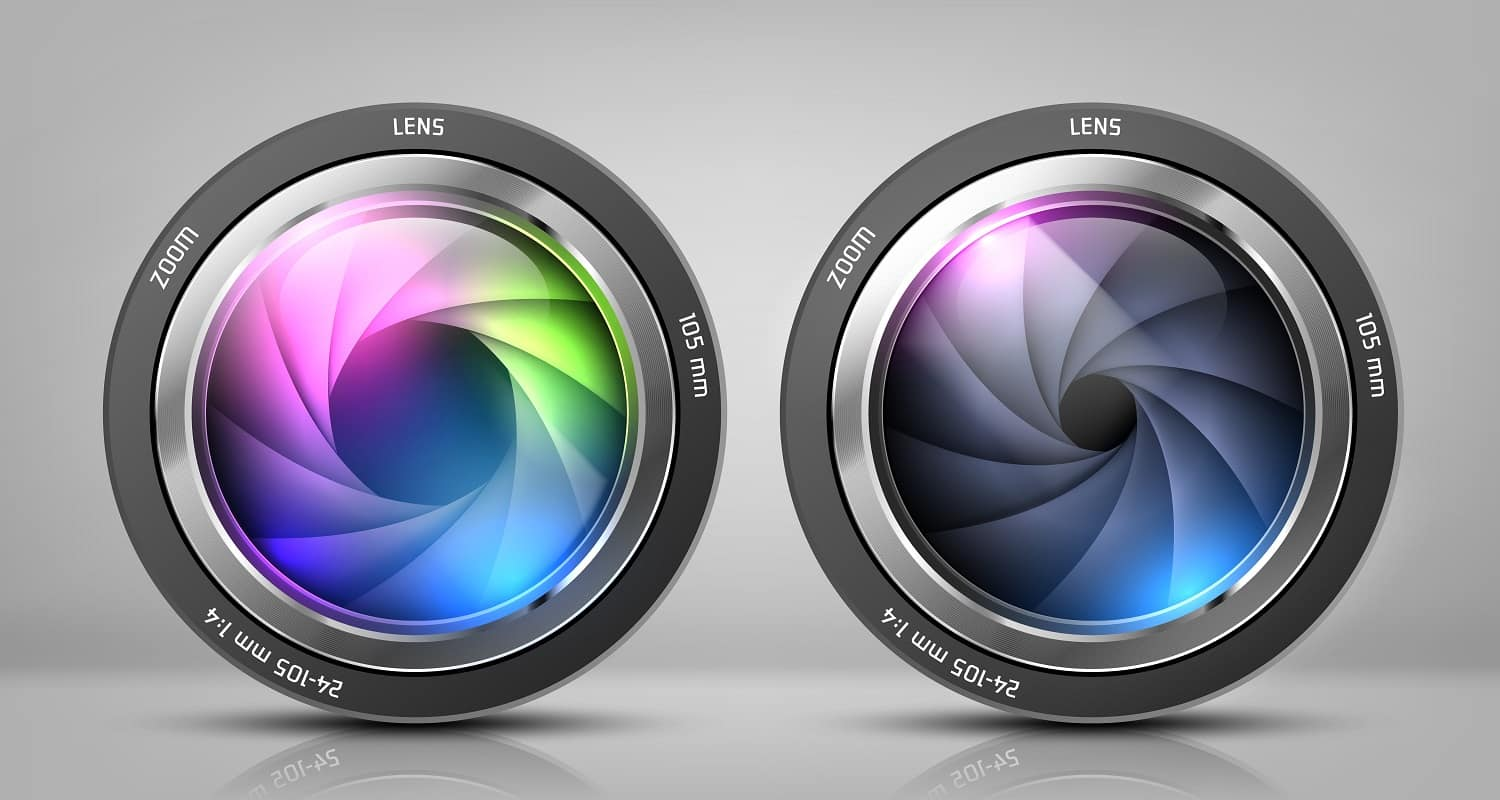 Vector realistic clipart with two camera lenses, photo objectives with zoom isolated on background. Optical system for photographic devices, modern equipment to make professional shots