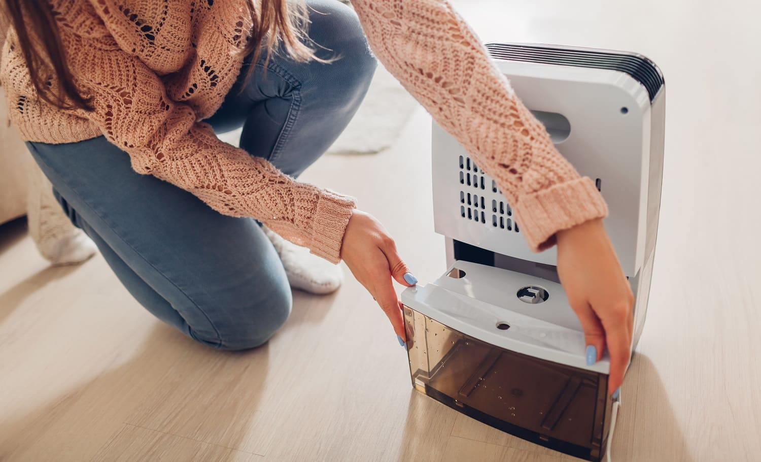 Woman changing water container of dehumidifier at home. Dampness in apartment. Modern air dryer technology