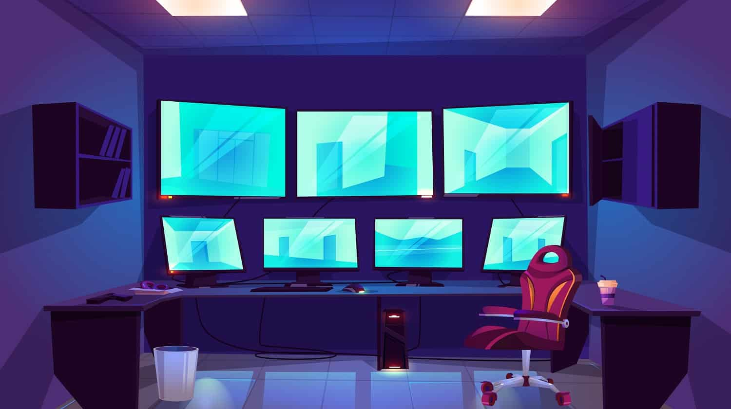 Security control cctv room interior with multiple monitors displaying video from surveillance cameras with outside and inside monitoring views. Guardian center with screens cartoon vector illustration