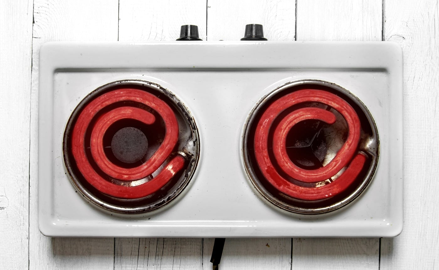 The concept of running a heated electric cooker . Top view